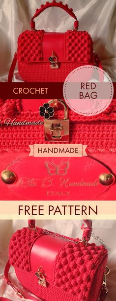 How To Crochet Beautiful Red Hanbag - Free Pattern