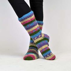 Keep your tootsies toasty and stylish with our Fleece Lined Wool Slipper socks.  These unique unisex slippers are hand-knit in vibrantly colored wool and fully lined with soft and cozy fleece, awesome for keeping you comfy on the coldest days!  $16