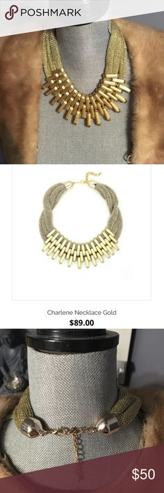 """Eye Candy Los Angeles necklace (new never worn) Eye Candy Los Angeles """"Charlene"""" necklace. Beautiful gold Statement necklace with mesh. Statement piece that will never go out of style!!! Adjustable length 😘 reasonable offers welcome!! I bundle!!! ❤️ Jewelry Necklaces"""