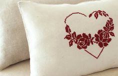 lovely large heart cross stitch done on linen, this is the finished the chart is separate