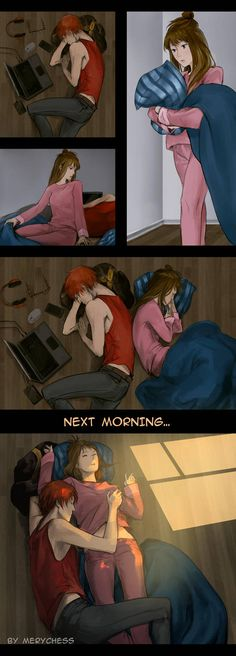 Ideas Funny Couple Sleeping So True Mystic Messenger Zen, Mystic Messenger Fanart, Mystic Messenger Memes, Couples Comics, Funny Couples, Cute Anime Couples, Cute Couple Comics, Castiel, Couple Sleeping