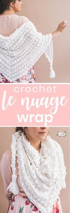 Crochet this textured shawl called Le Nuage Wrap - like wrapping yourself in a cloud! Find the free video tutorial and crochet pattern on my blog