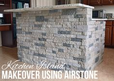 Airstone Kitchen Island or Breakfast Bar Makeover. Tutorial using Airstone to create a faux stone look in the kitchen. Airstone Kitchen Island or Breakfast Bar Makeover. Tutorial using Airstone to create a faux stone look in the kitchen. Stone Kitchen Island, Stone Wall, Kitchen Bar, Airstone, Stone Island, Remodel, Breakfast Bar Lighting, Kitchen Island Makeover, Diy Fireplace
