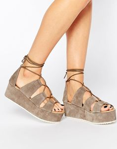 Park Lane   Park Lane Ghillie Lace Suede Flatform Sandals at ASOS