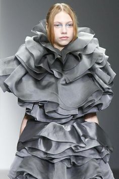 Wearable Art - grey dress with layers of sculptural ruffles - texture, tonality & volume // John Rocha
