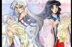 InuTaisho holding baby Sesshoumaru and Izaiyoi holding baby Inuyasha
