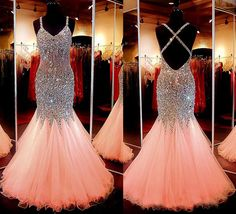 New Arrival Spaghetti Strap Tulle with Beaded Mermaid Sparkly Prom Dresses APD1574