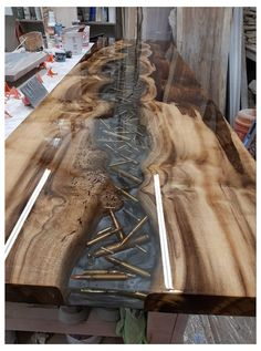 Diy Resin Table, Epoxy Wood Table, Epoxy Resin Wood, Bullet Casing Crafts, Bullet Crafts, Woodworking Projects Diy, Diy Wood Projects, Diy Resin Crafts, Wood Crafts