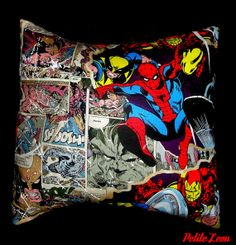 Marvel Avengers Comic Book Super Hero Pillow Cover ONLY 12X12 Breaking Through The Comic Book on Etsy, $12.99