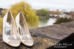 Bride's wedding shoes, with Richmond bridge in the background