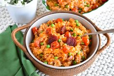 This Chorizo & Tomato Risotto is layered with rich flavors - spicy Spanish chorizo, sauteed onion, garlic and tomato-infused chicken broth. Cooked until creamy and finished with Parmesan and sweet peas. So, so good.