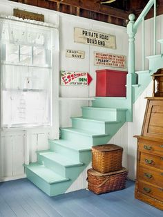 Love this color! A light mint green makes this staircase in Stacey Digiovanni's home in Brooklin, Maine feel fresh and brightens up the narrow space. The house was built in 1885 but still feels airy and beachy thanks to her playful color choices. Painted Staircases, Painted Stairs, Spiral Staircases, Painted Wood, Basement Stairs, House Stairs, Wood Stairs, Staircase Design, Staircase Ideas