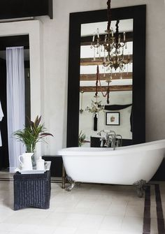 Lonny Magazine December/January 2014: The clawfoot tub inside the single room at Valladolid's Coqui Coqui.