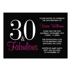 Fabulous 30th Black And Pink Birthday Party Custom Invitation Parties