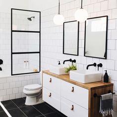 Our bathroom addition reveal + tips on choosing a builder — Mountainside Home black white brown bathroom I fekete-fehér-barna fürdő Bathroom Renos, Laundry In Bathroom, Remodel Bathroom, Ikea Hack Bathroom, Ikea Bathroom Vanity, Bathroom Tiling, Modern Bathroom Tile, Tub Tile, Ikea Kitchen