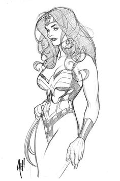 Wonder Woman sketch by Adam Hughes. I'd give my left thumb for an Adam Hughes original of Wonder Woman. Comic Book Artists, Comic Book Characters, Comic Artist, Comic Character, Comic Books Art, Character Design, Adam Hughes, Wonder Woman Kunst, Wonder Woman Art