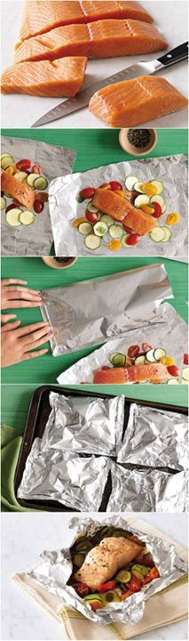 Steamed Salmon Recipe With Veggies with Zucchini, Tomato, and Basil or Spinach with Lemon - ofen baked: Juicier salmon and less calories!hSteamed Salmon Recipe With Veggies with Zucchini, Tomato, and Basil or Spinach with Lemon - ofen baked Steamed Salmon Recipes, Fish Recipes, Seafood Recipes, Baked Salmon, Recipies, I Love Food, Good Food, Yummy Food, Tasty