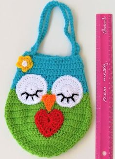 Valentine's Day Gifts Owl Crocheted Bag with Love Heart For Little Girls Birthday Kid Adult Gift Blue3