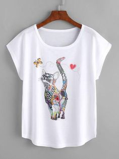 Cheap T-Shirts, Buy Directly from China Suppliers:Dotfashion Cat Print Loose Tee Shirt 2018 New Animal Round Neck Cap Sleeve Cute Female Top Summer Casual T shirt Lingerie Fine, Latest T Shirt, Casual T Shirts, Printed Tees, Shirt Designs, T Shirts For Women, How To Wear, Clothes, Tee Online