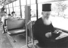 His Holiness the Archbishop of Peć, Metropolitan of Belgrade and Karlovci, Serbian Patriarch, Pavle - from 1990 until 2009 - in a trolley-bus in Belgrade, Serbia
