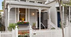 Pale grey and white Victorian cottage. Love the window box. 14 Bowen Street, Prahran | House exterior | Pinterest | Grey And White, Victorian and Victorian Cot…