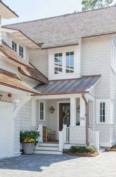Image result for stained shingle siding black windows