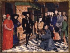 Jean Wauquelin presents his book to duke Philip the Good of Burgundy, In attendance are his son Charles of Charolais (here 13 or 14, later Charles the Bold), Nicolas Rolin (to the left, in blue) and Jean Chevrot, bishop of Tournai (left, in red). By Rogier van der Weyden, 1447 (Brussels). Frontispiece of the Chroniques de Hainaut. Opaque paint, gold, pen and ink on parchment. Royal Library of Belgium, Brussels: MS 9242.