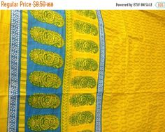 1 Meter indian Cotton fabric in yellow with blue motifs and a blue,green and yellow border Machine Embroidery Thread, Light Peach, Silk Thread, Textile Prints, Blue Yellow, Cotton Fabric, Indian, Trending Outfits, Etsy
