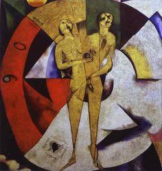 Hommage à Apollinaire de Marc Chagall. 1911-1912, huile sur toile.