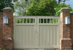 Lovely painted wooden gate automated by us. Wooden Garden Gate, Wooden Gates, Garden Doors, Electric Driveway Gates, Electric Gates, Gates Driveway, Garage Gate, Fence Gate, Fences