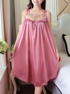 00eacf0144f Nightwear Embroidered Mesh Panel Dress Lingerie   Loungewear