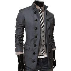 (SDJ-DARKGRAY) Mens Double Breasted 2 Way Slim Fit Jacket Blazer DARK GRAY