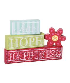 Take a look at this 'Faith Hope Happiness' Block Set by Adams & Co. on #zulily today!