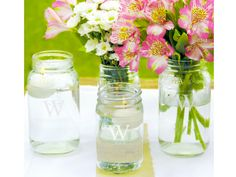 Wedding Favor Inspiration - Monogram Mason Jars >> http://www.hgtvgardens.com/weddings/garden-inspired-wedding-favors?soc=pinterest