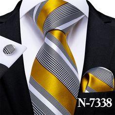 Yellow Stripes, Grey Yellow, Black White Stripes, Teal Blue, Mens Silk Ties, Men Ties, Cufflink Set, Tie Styles, Moda Masculina