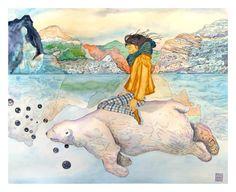 Promenade sur la banquise. Aquarelle originale. De l'encre de chine et de l'aquarelle. Artwork par Rosedraft