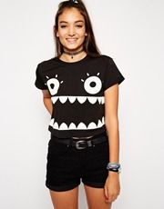 ASOS Cropped Boyfriend T-shirt with Monster Face Print