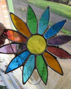 Spring Daisy Beautiful Stained Glass Flower by pewtermoonsilver