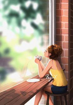 Cartoon Girl Images, Cute Cartoon Girl, Cartoon Art Styles, Cartoon Cartoon, Illustration Mode, Illustration Artists, Digital Illustration, Alone Art, Cute Girl Drawing
