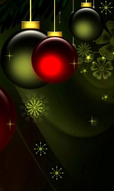 Download 480x800 «New Year Balls Green and Red» Cell Phone Wallpaper. Category: Holidays