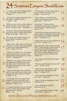 24 Bible verses everyone should know Lds Scriptures, Bible Verses, Bible Prayers, Images Bible, A Course In Miracles, Scripture Study, Scripture Journal, Family Scripture, Scripture Memorization