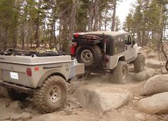 I need an offroad trailer. Jeep with all terrain trailer Jeep Jk, Jeep Truck, Jeep Rubicon, Jeep Wrangler, Jeep Gear, Jeep Camping, Off Road Camping, Teardrop Trailer, Teardrop Camper