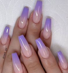 Purple Ombre Nails, Purple Acrylic Nails, Acrylic Nails Coffin Short, Best Acrylic Nails, Coffin Nails, Purple Nails With Glitter, Glitter Ombre Nails, Bright Summer Acrylic Nails, Square Acrylic Nails