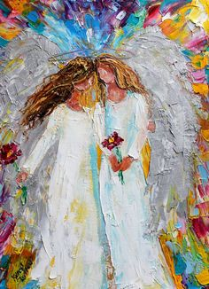 Original oil painting Spring #Angel Hugs abstract by Karensfineart