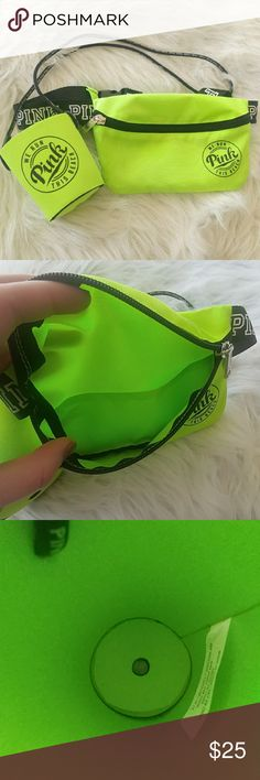 PINK Fanny Pack and Soda Coozie combo Bright yellow/green color. Good condition. Coozie bottom on inside has separated a little bit but still works as shown in picture three. Adjustable band on the fanny pack. PINK Victoria's Secret Accessories