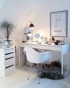 Ikea 'Micke' desk as vanity table Sheryl Chitten – Emme H. Ikea 'Micke' desk as vanity table Sheryl Chitten Ikea 'Micke' desk as vanity table Sheryl Chitten Home Office Design, Bedroom Design, House Design, Interior, Bedroom Decor, New Room, Home Decor, House Interior, Room Decor