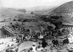 """September 1898, California Admissions Day celebration in Glen Canyon. Known then as """"Little Switzerland"""" the area was a resort. Note the bridges over a rather substantial Islais Creek. """"Morro Castle"""" sits atop the ridge in the distance. Photo: Private Collection, San Francisco, CA"""