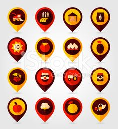 Autumn Harvest Thanksgiving flat mapping pin icon royalty-free stock vector art
