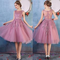 Newest Short Purple Prom Dress, Illusion Homecoming Dress,Fashion