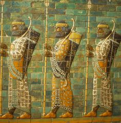 Babylonian archers, Assyrian mosaic tiles by cascoly